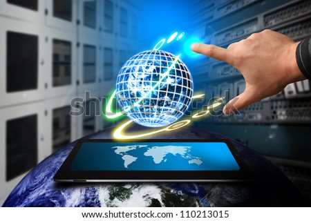 Smart hand and global system in Data center room : Elements of this image furnished by NASA