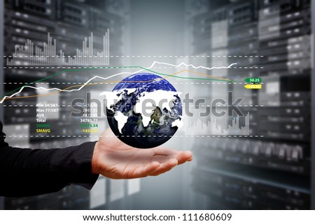 Smart hand and graph from digital world : Elements of this image furnished by NASA - stock photo
