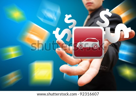 Smart hand hold the car icon - stock photo