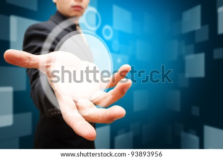 Smart hand hold the circle digital background - stock photo