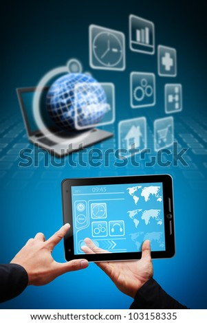 Smart hand hold touch pad and icon app store online - stock photo