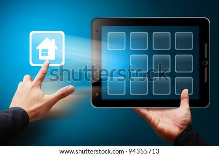Smart hand press on house icon from mobile phone