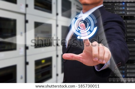 Smart hand press on power icon - stock photo