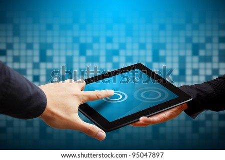Smart hand press on tablet computer - stock photo
