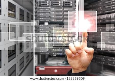 smart hand press on window icon - stock photo
