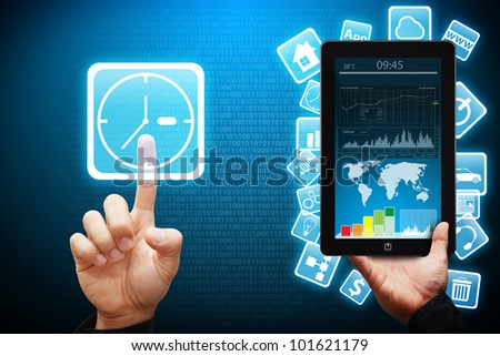 Smart hand touch on Clock icon from Tablet computer - stock photo