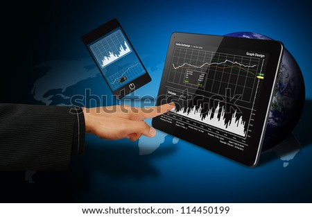 Smart hand touch on 3D graph from digital touch pad : Elements of this image furnished by NASA - stock photo