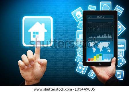 Smart hand touch on House icon from tablet pc