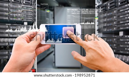 Smart hand touch on power button - stock photo