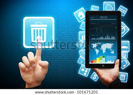 Smart hand touch the Bin icon from tablet computer - stock photo