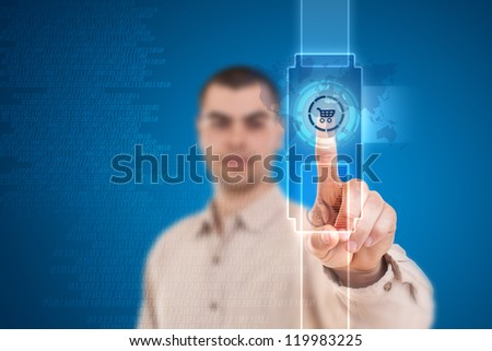 Smart hand touch the cart icon from interface - stock photo