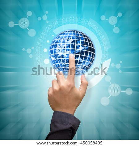 Smart hand touch the digital world background : Elements of this image furnished by NASA