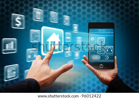 Smart hand touch the House icon from mobile phone
