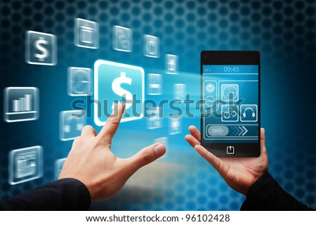 Smart hand touch the Money icon from mobile phone - stock photo