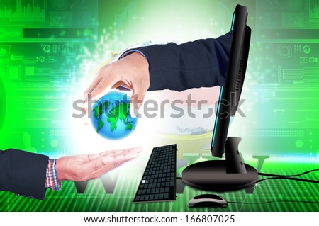 Smart hand  with globe and computer - stock photo