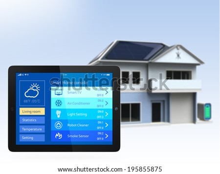 Smart home and tablet PC. The app could manage home energy just few tap to the screen. Concept for home automation. - stock photo
