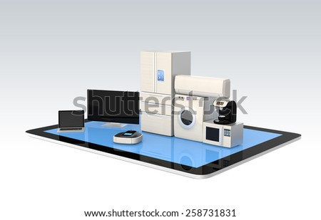 Smart home appliances on tablet PC for IoT concept - stock photo