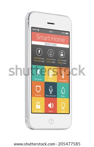 Smart home application on the white modern mobile smart phone screen isolated on white background. For access to all of the controls of your house and caring of home security. - stock photo