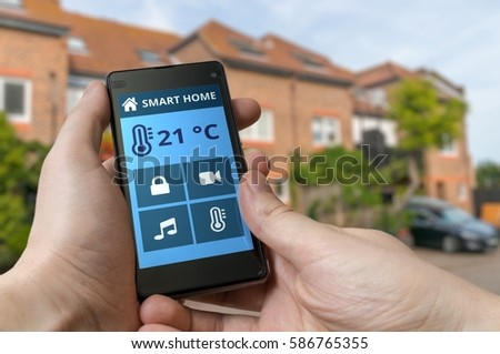 Smartphone Home Control home control stock images, royalty-free images & vectors
