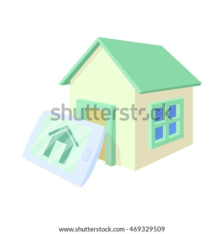 Smart home icon in cartoon style isolated on white background. Innovation symbol