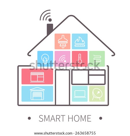 Smart home with outline icons on smart phone. - stock photo