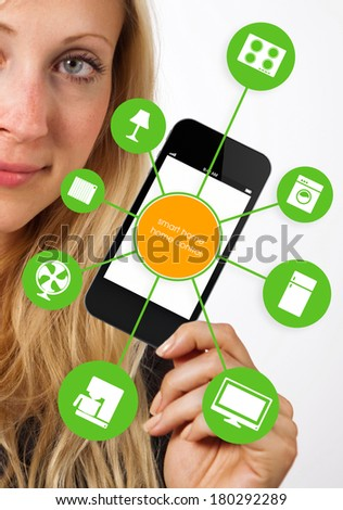 smart house device illustration with app icons - stock photo