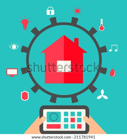 Smart house technology system illustration. Hands holding  centralized control of lighting, HVAC (heating, ventilation and air conditioning), appliances, security and other systems on a tablet.  - stock photo