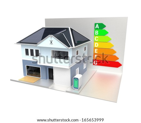 Smart house with energy classification chart. 3D rendering with clipping path. - stock photo