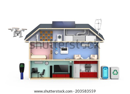 Smart house with energy efficient appliances, solar panel and wind power generator. (No text) - stock photo
