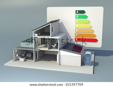 smart house with energy performance rating - stock photo