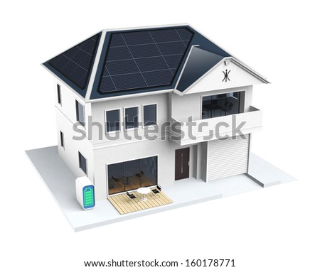 Smart house with solar panels, home battery system - stock photo