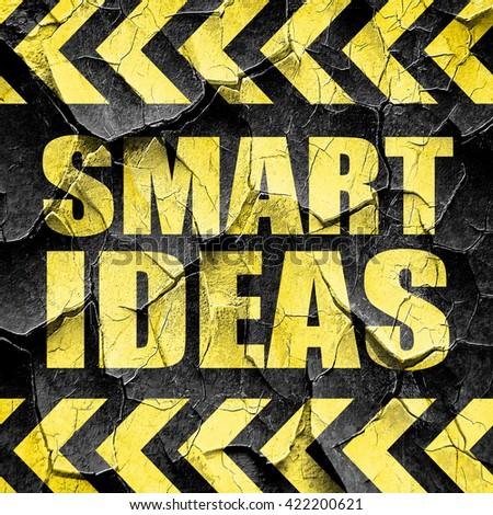 smart ideas, black and yellow rough hazard stripes - stock photo