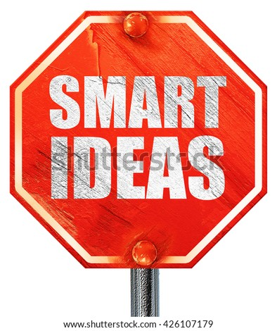 smart ideas, 3D rendering, a red stop sign - stock photo
