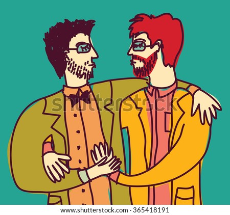 Smart intelligent gay couple lgbt love man only. Color illustration.  - stock photo