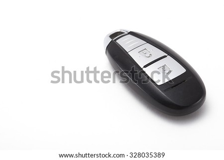 smart key car lock on white background - stock photo