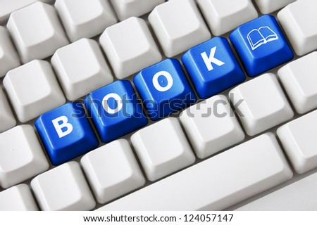 Smart keyboard with color button, book text and book symbol