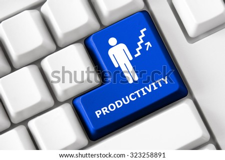 Smart keyboard with personal efficacy symbol set. Accountability, productivity and success concept. Design elements of corporate management, business efficiency. Collection of personal efficacy signs - stock photo