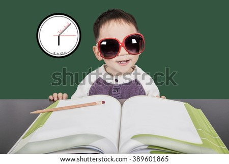 Smart kid study and take a break. - stock photo