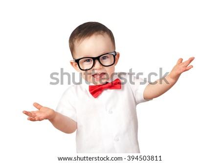 Smart Kid wearing glasses - stock photo