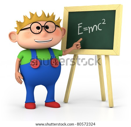 smart little boy with blackboard - high quality 3d illustration - stock photo