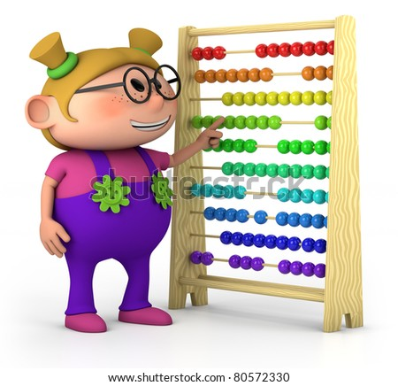 smart little girl with abacus - high quality 3d illustration - high quality 3d illustration - stock photo