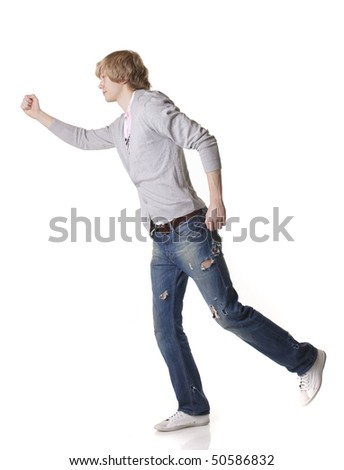 Smart man running on isolated white background