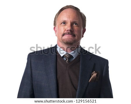 Smart mature businessman over white background