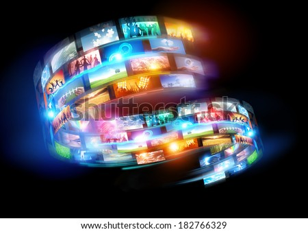 Smart Media world. Connected media and social events broadcast throughout the world. - stock photo