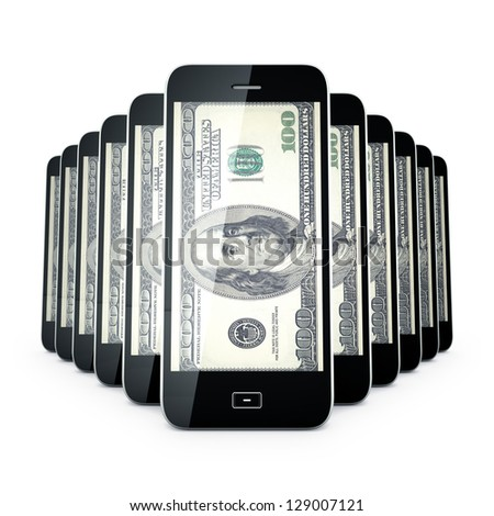 Smart Mobile phone and Hundred dollas on screen. - stock photo