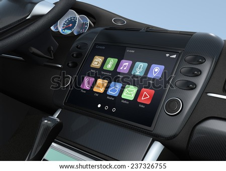 Smart multimedia touchscreen system for automobile. Original design. - stock photo
