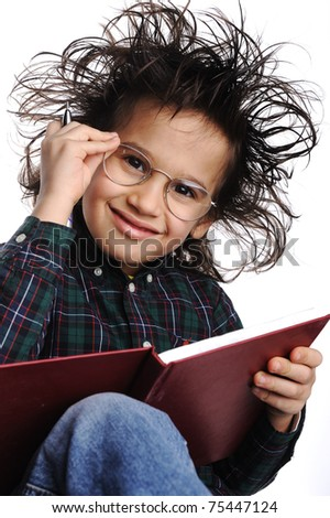 Smart nerd kid with glasses and funny hair writing - stock photo
