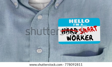 Smart Not Hard Worker Employee Name Tag 3d Illustration