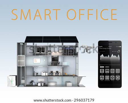 Smart office and smartphone isolated on blue background. The smart office's energy support by solar panel, storage to battery system.(with text) 3D rendering image with clipping path. - stock photo