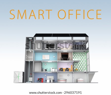Smart office building concept. The smart office's energy support by solar panel, storage to battery  system. 3D rendering image with clipping path. - stock photo